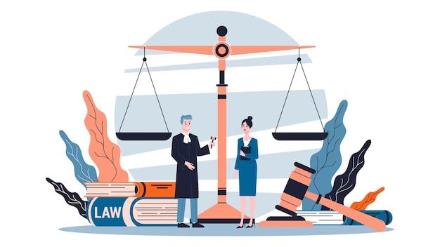 Nozione di diritto. idea di giustizia, tribunale e avvocato.