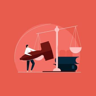 Illustrazione di concetto di consulente esperto di educazione giuridica, avvocato e servizio legale