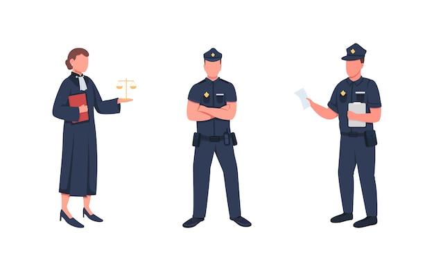 Set di caratteri senza volto di colore piatto di lavoratori delle forze dell'ordine giudice con scale illustrazione di cartone animato isolato giustizia ufficiali di polizia