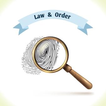 Impronta digitale di legge sotto lente d'ingrandimento