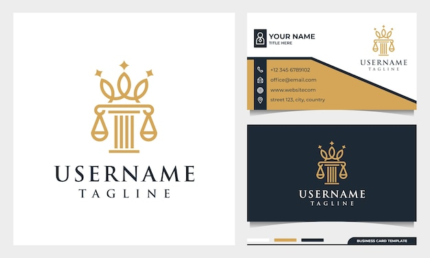 Logo in stile arte linea corona studio legale, avvocato, pilastro ed eleganza con modello di biglietto da visita