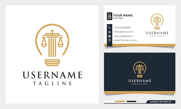 Logo in stile arte linea studio legale, avvocato, pilastro e lampadina con modello di biglietto da visita