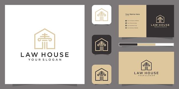 Studio legale e modello di logo di casa ispirazione e biglietto da visita