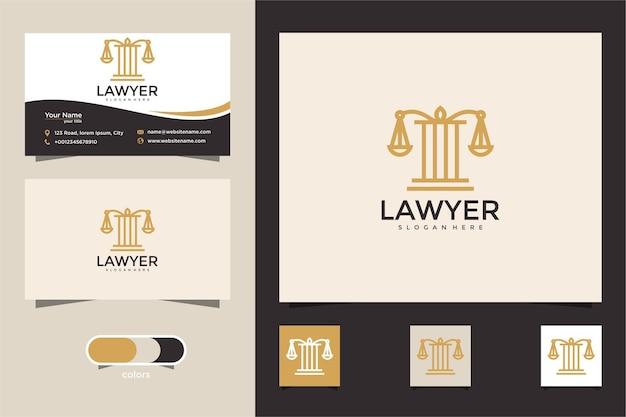 Design del logo della giustizia dello studio legale con modello di biglietto da visita