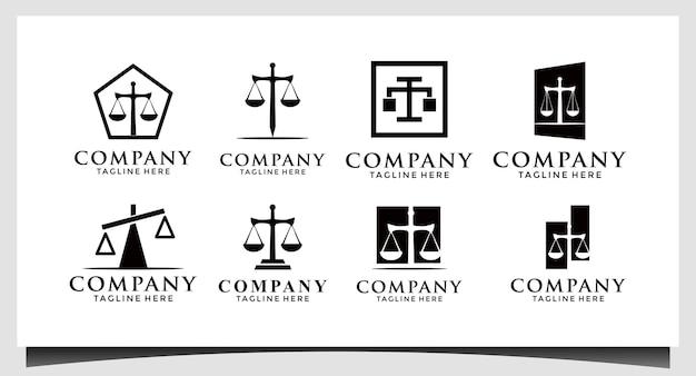 Studio legale logo icona disegno vettoriale. legale universale, avvocato, bilancia simbolo premium creativo idea colonna spada.