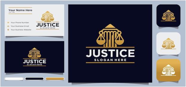 Logo dello studio legale a forma di pilastro logo della giustizia della giustizia dell'avvocato in colore oro