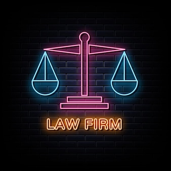 Insegna e simbolo al neon del logo al neon dello studio legale
