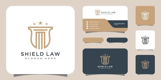 Studio legale e scudo logo design vettoriale e biglietto da visita