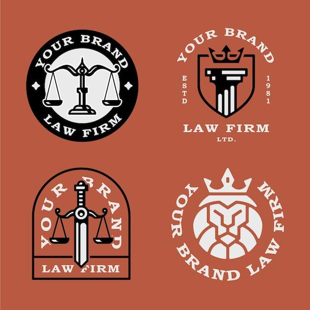Set di logo vintage distintivi dello studio legale