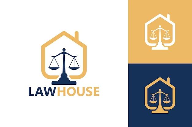 Vettore premium del modello di logo della casa di legge