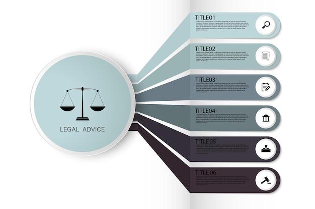 Informazioni di legge per la giustizia sentenza verdetto caso legale martello martello di legno asta giudiziaria. infografica