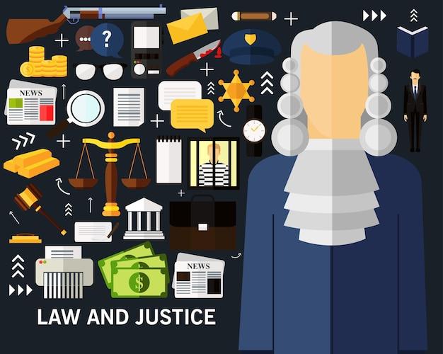 Fondo di concetto di legge e giustizia.