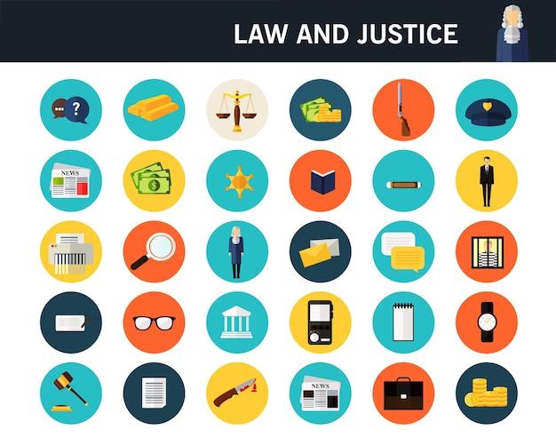 Icone piane di concetto di legge e giustizia.