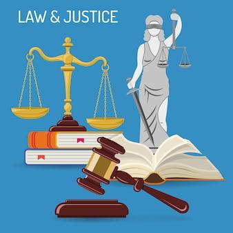 Concetto di diritto e giustizia con icone piatte scale della giustizia, martelletto del giudice, lady justice, libri di legge. illustrazione vettoriale isolato