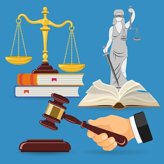 Legge e concetto di giustizia con scale di giustizia icone piane, martelletto del giudice, lady justice, libri di diritto.