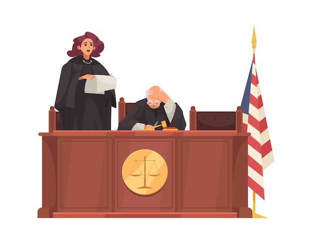 Giustizia legale con tribune di legno e giudici in seduta Vettore Premium