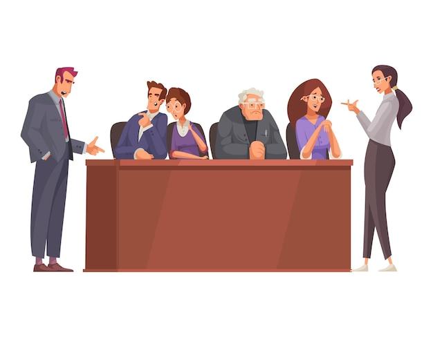Giustizia legale con tribune di legno e giuria processuale