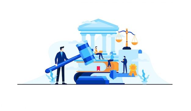 Legge e illustrazione piatta legale