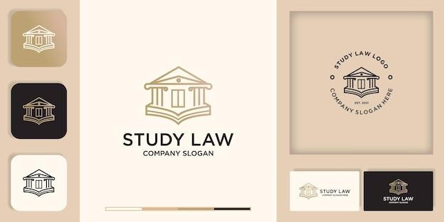 Design del logo di legge, combina edificio con libro