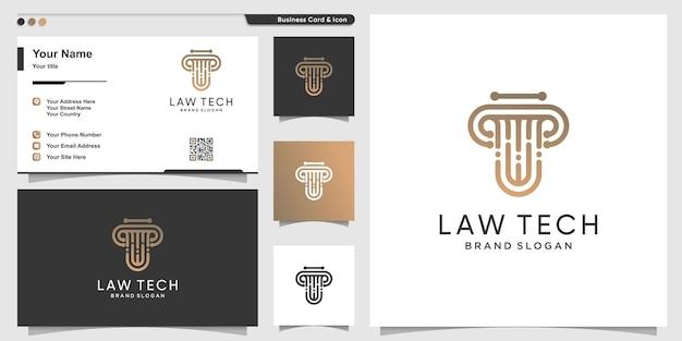 Logo di legge con il concetto di tecnologia e il design del biglietto da visita