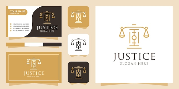 Logotipo di legge e modello di biglietto da visita