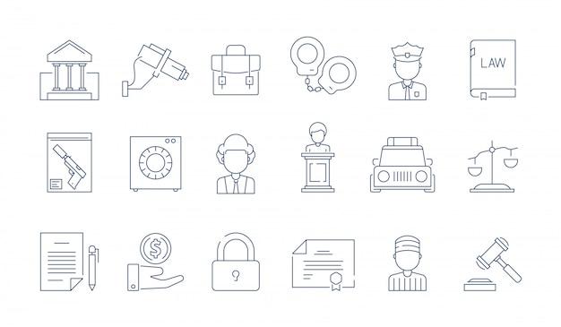 Icona protezione legge. simboli lineari sottili di vettore legale di giudizio corporativo della giustizia dell'avvocato