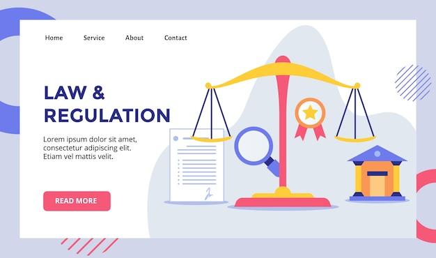 Campagna di bilanciamento della scala di leggi e regolamenti per il banner del modello di pagina di destinazione della home page del sito web con moderno