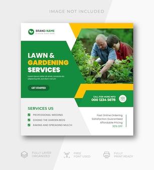 Modello di banner per post sui social media del servizio di giardinaggio del prato inglese
