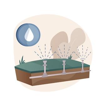 Illustrazione di concetto astratto del sistema di irrigazione del prato