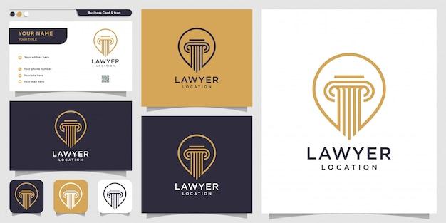 Logo posizione avvocato e modello di progettazione biglietto da visita, avvocato, giustizia, logo pin, logo legge