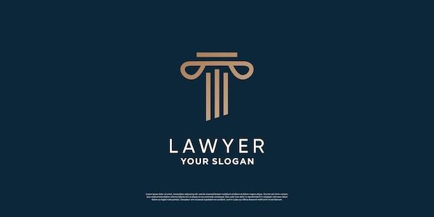 Design del logo dell'avvocato con un concetto minimalista creativo vettore premium