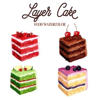 Illustrazione dell'acquerello di cibo torta a strati