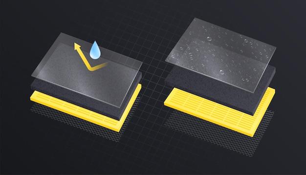 Composizione realistica di materiali a strati con vista di strati rettangolari in pila con icone a goccia e freccia