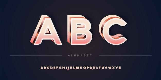 Set di alfabeto 3d in oro rosa a strati