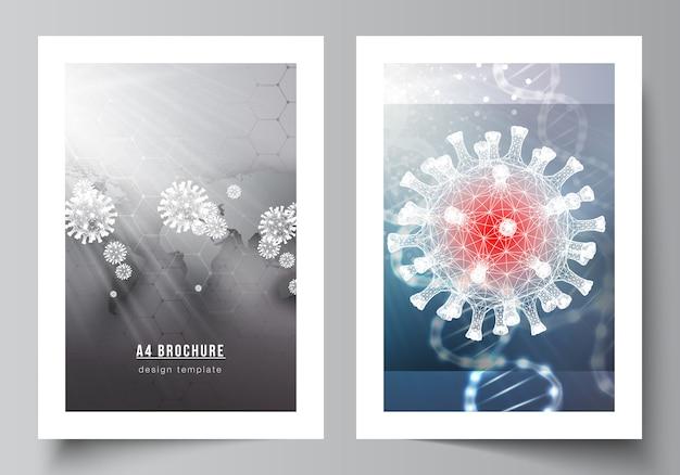 Layout di modelli di mockup di copertina a4 per brochure, layout flyer, libretto, design di copertina, design di libri. priorità bassa medica 3d del virus della corona. covid 19, infezione da coronavirus. concetto di virus.