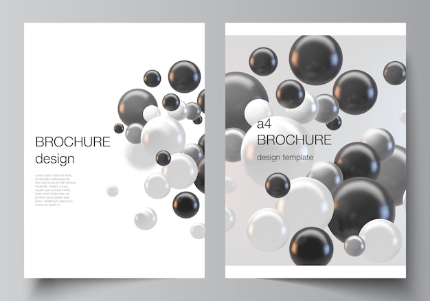 Layout di modelli di mockup di copertina a4 per brochure, layout di volantini, opuscoli, design di copertine, design di libri. fondo futuristico astratto con sfere colorate 3d, bolle lucide, palline.