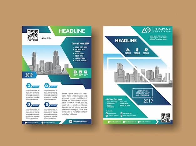 Brochure di relazione annuale sulla copertina del layout Vettore Premium
