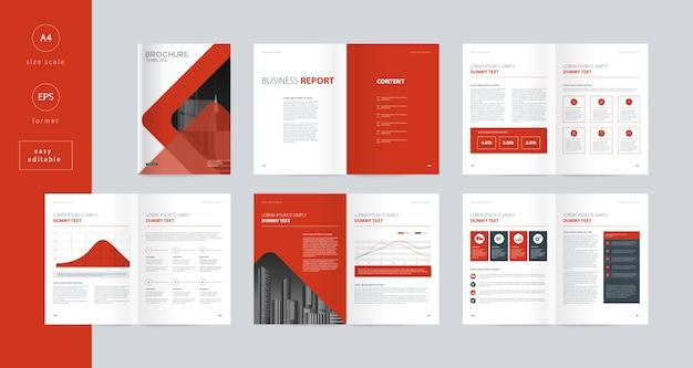 Progettazione del layout con copertina per il rapporto annuale del profilo aziendale e modello di brochure