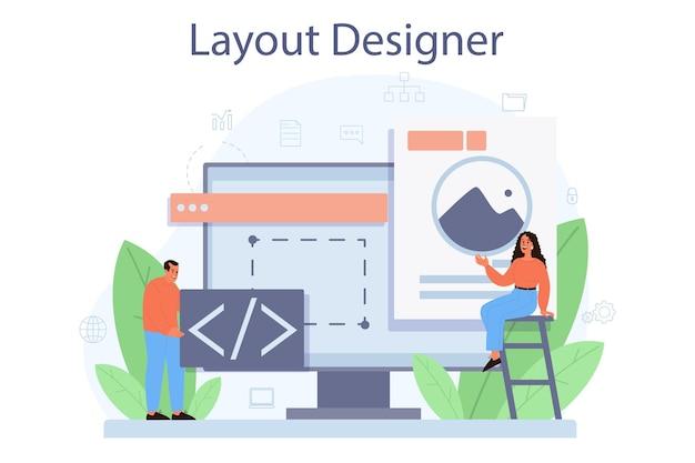 Concetto di layout designer. sviluppo web, progettazione di app per dispositivi mobili. persone che costruiscono modello di interfaccia utente. informatica.