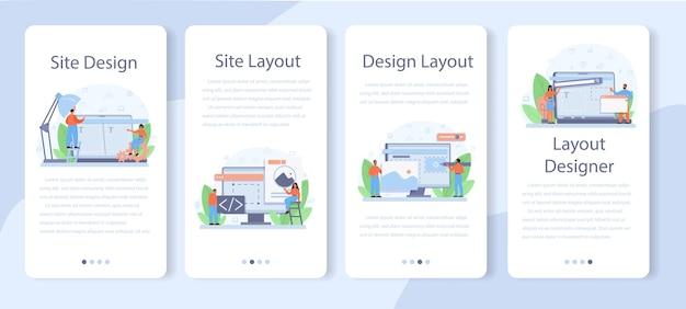 Set di banner per applicazioni mobili progettista di layout