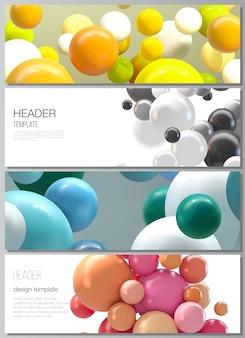Layout delle intestazioni, modelli di design banner per il design del piè di pagina del sito web, design del volantino orizzontale, intestazione del sito web. fondo futuristico astratto con sfere colorate 3d, bolle lucide, palline.