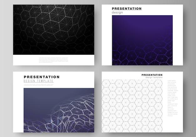 Layout delle diapositive di presentazione progettare modelli di business. tecnologia digitale e concetto di grandi quantità di dati con esagoni, punti e linee di collegamento, fondo medico di scienza poligonale.
