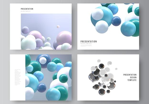 Layout delle diapositive di presentazione design modelli di business, modello multiuso per brochure di presentazione, report. sfondo realistico con sfere 3d multicolori, bolle, palle.