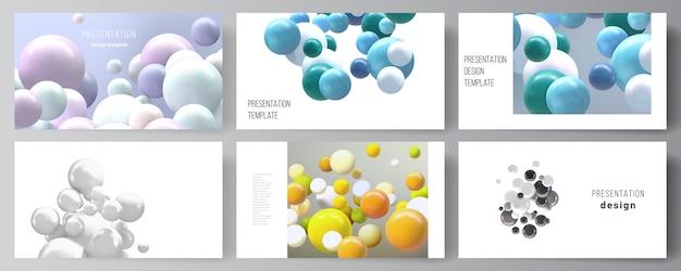 Layout delle diapositive di presentazione progettare modelli di business, modello multiuso per brochure di presentazione, report. sfondo realistico con sfere 3d multicolori, bolle, palline.