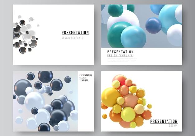 Layout delle diapositive di presentazione progettare modelli di business, modello multiuso con sfere 3d multicolori, bolle, palline.
