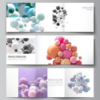 Layout di modelli di copertine quadrate per brochure a tre ante, flyer, riviste, copertina, design di libri. fondo futuristico astratto con sfere colorate 3d, bolle lucide, palline.