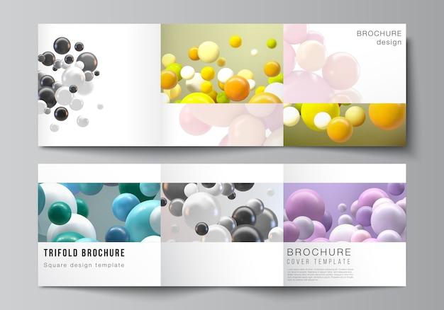 Layout di modelli di copertine quadrate per brochure a tre ante, flyer, riviste, copertina, design del libro. fondo futuristico astratto con sfere colorate 3d, bolle lucide, palline.
