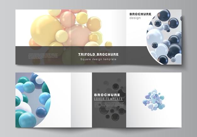 Layout di formato quadrato copre modelli per brochure a tre ante