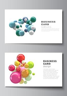 Layout di due modelli di progettazione di biglietti da visita creativi, modello di progettazione orizzontale. fondo futuristico astratto con sfere colorate 3d, bolle lucide, palline.