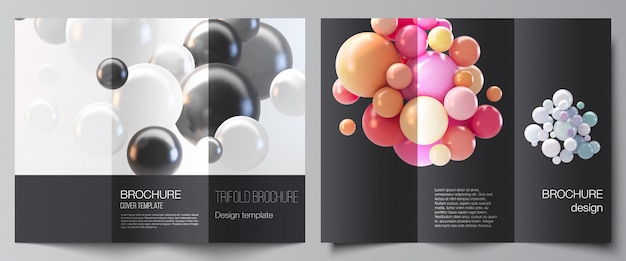 Layout di modelli di copertine per brochure a tre ante, layout di volantini, design di libri, copertina di brochure, pubblicità. astratto sfondo futuristico con sfere colorate 3d, bolle lucide, palle.